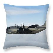 A Mc-130p Combat Shadow In Flight Throw Pillow