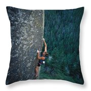 A Rock Climber In Montanas Hyalite Throw Pillow