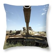 A Russian T-55 Main Battle Tank Throw Pillow