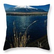 A Scenic View Of Mount Fuji Taken Throw Pillow