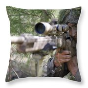 A Sniper Sights In On A Target Throw Pillow