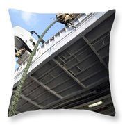 A Soldier Fast-ropes From The Rear Throw Pillow by Stocktrek Images