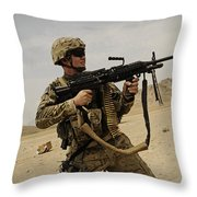 A Soldier Firing His Mk-48 Machine Gun Throw Pillow