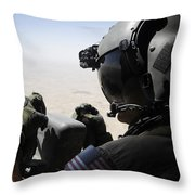 A Soldier Provides Security Throw Pillow