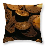 A Still Life Of Old Watch Faces Throw Pillow