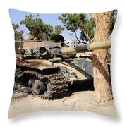 A T-72 Tank Destroyed By Nato Forces Throw Pillow