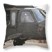 A Uh-60 Black Hawk Taxis Throw Pillow