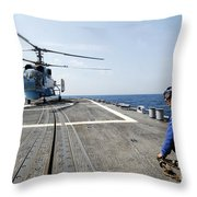 A Ukrainian Navy Ka-27 Helix Helicopter Throw Pillow