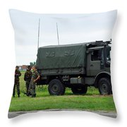 A Unimog Vehicle Of The Belgian Army Throw Pillow
