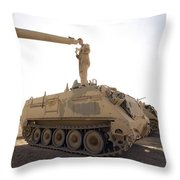 A Us Army Mechanic Uses A M113 Throw Pillow