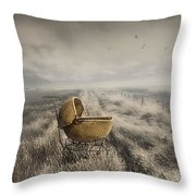 Abandoned Antique Baby Carriage In Field Throw Pillow