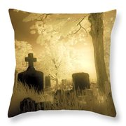 Abandoned And Overgrown Cemetery Throw Pillow