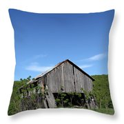 Abandoned Old Farm Building With Blue Sky Throw Pillow