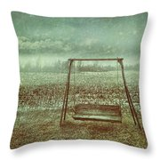 Abandoned  Swing In First Snow Storm Of Winter Throw Pillow by Sandra Cunningham