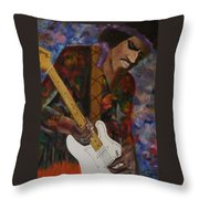 Abstract Jimi Hendrix Throw Pillow