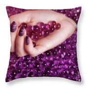 Abstract Woman Hand With Purple Nail Polish Throw Pillow