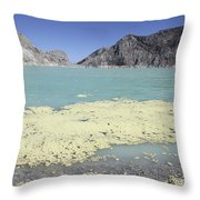 Acidic Crater Lake, Kawah Ijen Volcano Throw Pillow