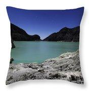 Acidic Crater Lake On Kawah Ijen Throw Pillow