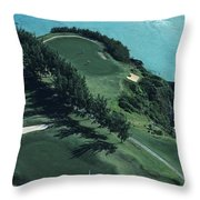 Aerial Of A Golf Course In Bermuda Throw Pillow