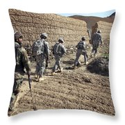 Afghan National Army And U.s. Soldiers Throw Pillow