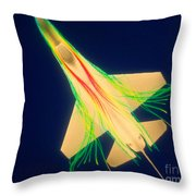 Air Flow Over F-16 Jet Fighter Throw Pillow