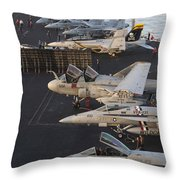 Aircraft Parked On The Flight Deck Throw Pillow