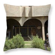 Airman Conducts Security Throw Pillow