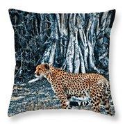 Alert Cheetah Throw Pillow by Darcy Michaelchuk