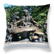 Alice In Wonderland In Central Park Throw Pillow