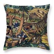 America: Shipbuilding, C1594 Throw Pillow