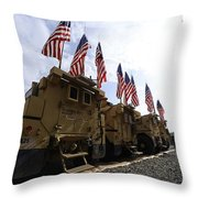 American Flags Are Displayed Throw Pillow