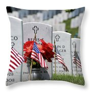 American Flags Placed In The Front Throw Pillow