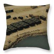 An Aerial View Of The White Beach Throw Pillow