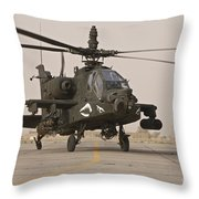An Ah-64 Apache Helicopter Taxiing Throw Pillow
