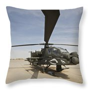 An Ah-64d Apache Helicopter At Cob Throw Pillow