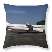 An Airbus 340 Acting As Air Force One Throw Pillow
