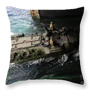 An Amphibious Assault Vehicle Enters Throw Pillow