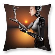 An Android Takes A Closer Look Throw Pillow