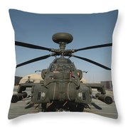 An Apache Helicopter At Camp Bastion Throw Pillow
