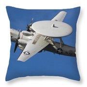 An E-2c Hawkeye In Flight Throw Pillow