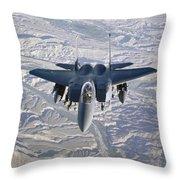 An F-15e Strike Eagle Soars Throw Pillow