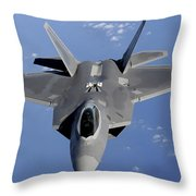 An F-22 Raptor Moves Into Position Throw Pillow