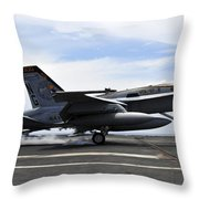 An Fa-18c Hornet Lands Aboard Throw Pillow