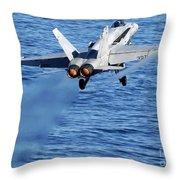 An Fa-18c Hornet Taking Off Throw Pillow