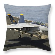 An Fa-18e Super Hornet Trap Landing Throw Pillow