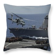 An Mh-60s Knighthawk Helicopter Throw Pillow