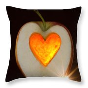 Apple With A Heart Throw Pillow