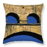 Aqueduc Du Pont Du Gard.provence Throw Pillow by Bernard Jaubert
