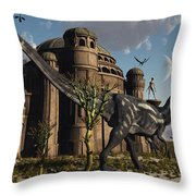 Artists Concept Of A Reptoid Race Whom Throw Pillow