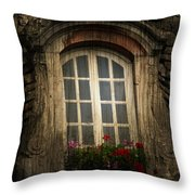 As She Waits Throw Pillow by Empty Wall